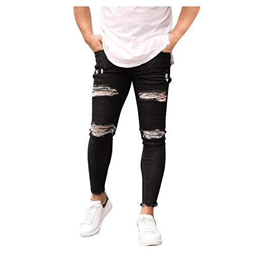 2021 Nuevo Pantalones Vaqueros para Hombre,Pantalones Casuales Moda Jeans Rotos Trend Largo Pantalones Cómodo Pants Skinny Pantalon Fitness Jeans Slim Fit Largos Pantalones Ropa de Hombre