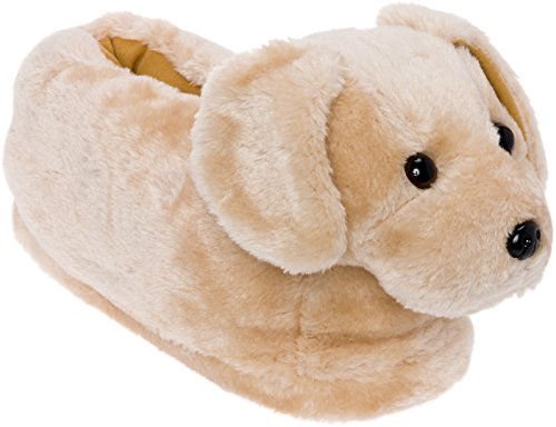 Silver Lilly Golden Retriever Slippers - Plush Dog Slippers w/Platform (Gold, Small)