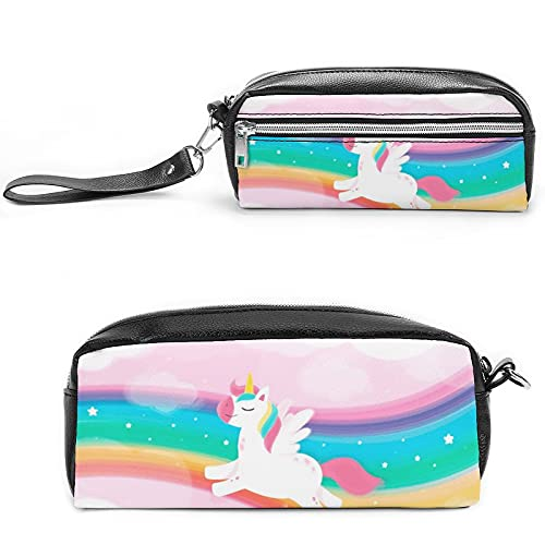 Rainbow Unicornio (4), bolsa de cosméticos de viaje grande para mujer, neceser de viaje y maquillaje cosmético bolsa con muchos bolsillos, Negro-estilo-1, 20*10*5.5cm,