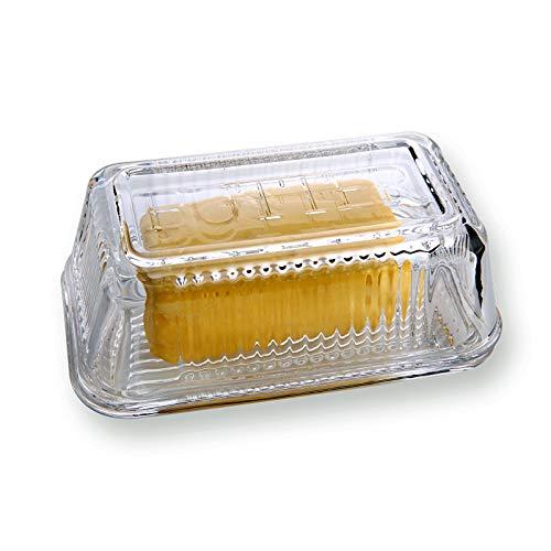 Mantequeras de cristal transparente con cubiertas, diseño clásico de 2 piezas, accesorio de cocina tradicional apto para lavavajillas
