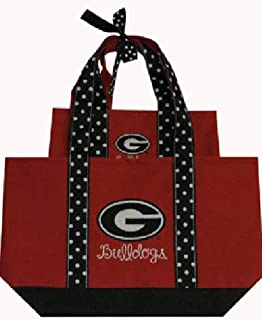 Game Day Outfitters NCAA Georgia Bulldogs Women's Polka Dot Handle Tote Bag (2 Piece), One Size, Multicolor