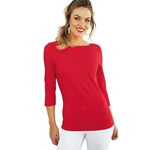 Camiseta Lisa Manga 3/4 Mujer - 112163,Rojo,S