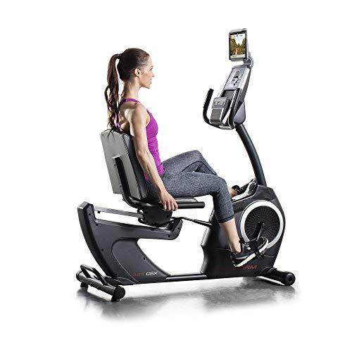 ProForm Recumbent-Liege Heimtrainer-350 CSX ,24 Workouts und 22 Widerstands-Level , 5-Zoll-LCD-Display mit Hintergrundbeleuchtung, Ventilator,Dual-Grip EKG , PFEVEX74914