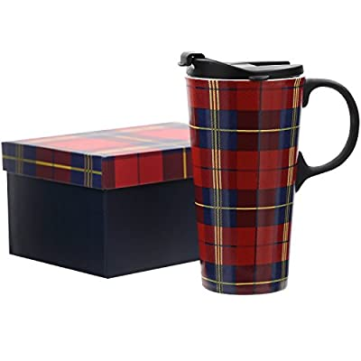 Ceramic Travel Mug With Scottish Tartan Design