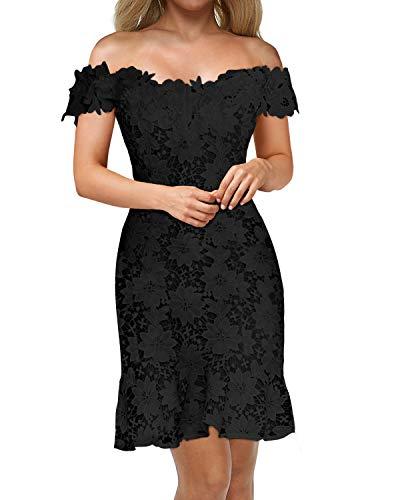 Auxo Damen Schulterfreie Kurzarm Kleider mit Spitze Elegant Blumen Kurz Abend Etuikleid Schwarz Large