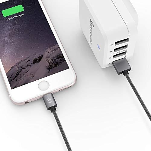 iPhone Ladekabel 2M Lightning Kabel - Syncwire [Apple MFi zertifiziert] Nylon Schnell Apple Lightning USB Datenkabel für iPhone 12 SE 2020 11 Pro XS Max XR X 8 7 6s 6 Plus SE 5s 5c 5 iPad - Space Grau