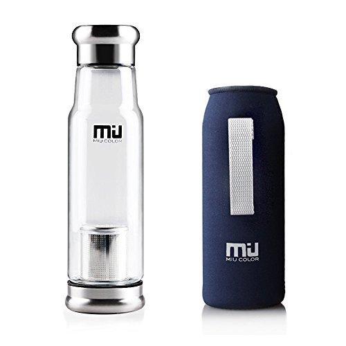 MIU COLOR Stilvolle Tragbare 550ml Glasflasche Trinkflasche Nylon Tasche für Auto (mit Teesieb, dunkelblau)