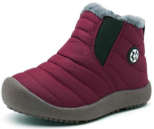 Gaatpot Zapatos Invierno Niña Niño Botas de Nieve Forradas Zapatillas Sneaker Botines Planas para Unisex Niños Rojo(Burgundy) 32 EU = 33 CN