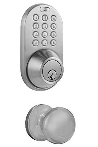 MiLocks DFK-02SN Electronic Touchpad Entry Keyless Deadbolt and Passage Knob Combo, Satin Nickel