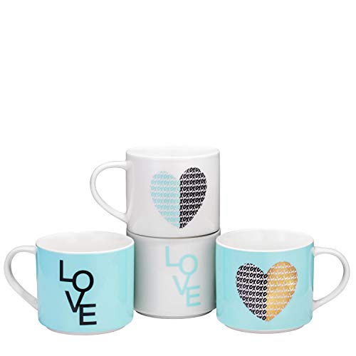 Bruntmor Stacking Ceramic Bone China Love Inspirational Coffee/Tea Novelty Mug set, Funny Mug Gift Set - Him And Her Gifts -Holiday or Birthday Present 14 Oz. Blue Theme gorgeous pastel colors