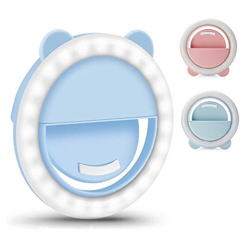 Recargable Anillo de luz Selfie LED Light para Móvil Luz Práctica Brillo Ajustable de 3 Niveles para Selfie Maquillaje,Azul