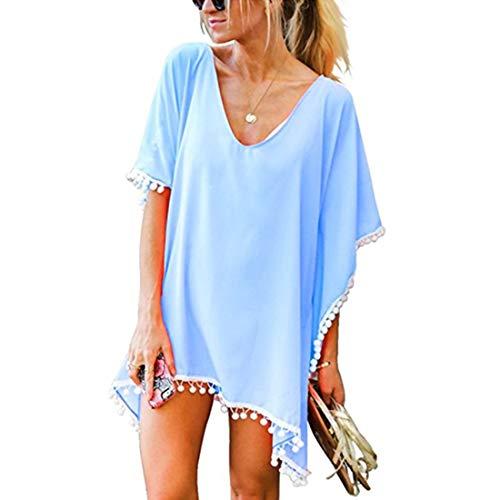 JMITHA Damen Strandponcho Sommer Strandkleid Sommerkleid Bikini Badeanzug Cover Up (One Size(XS-2XL), Denim Blue(solid Pom))