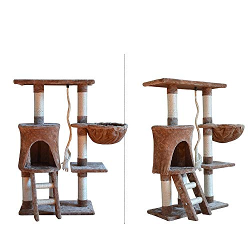 HO-TBO Katzenspiel-Baumturm, 4-Schicht Sisal Cat Klettergerüst mit Cat Net Katze Kratzbaum Turm Exklusiver Raum (Color : Brown, Size : One Size)