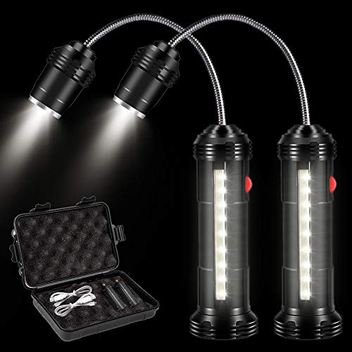 Outinhao 2 Piezas, Luz de Parrilla, Parrilla LED Luces con Base Magnética y Flexible Cuello 360 ° Rotación para Exteriores, Barbacoa, Camping, Fiesta, Leer (Schwarz)