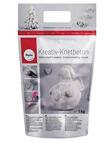 Rayher Kreativ-Knetbeton 1kg- im handlichen, wiederverschließbarem Beutel- für kreative Ideen zum Formen, Kneten, Modellieren, Drucken und Ummanteln – Bastelbeton für kreative Beton-Looks