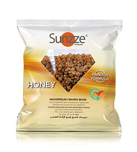 Sunzze Premium Wax-Beans Professionele film hars, 1 kg, wax voor professionele deputatie zonder harsstrips, Braziliaanse waxing, warme Harsparels, waxbonen, natuur Honing, 1 kg