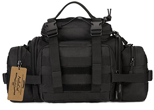 ArcEnCiel Tactical Duffle Bag Fishing Fanny Pack Range Bags Men Gym Military Molle Shoulder Bags Waist Camera Sports Handbag (Black)