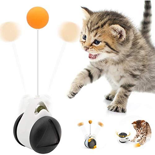 Katzen Spielzeug, Interaktives Katzenspielzeug Balance Schaukel Katzen Spielzeug mit Katzenminze und Kauen Sticks Bälle, 360° Selbstdrehender Katzenspielzeug für Haustier Katze Indoor (Schwarz)