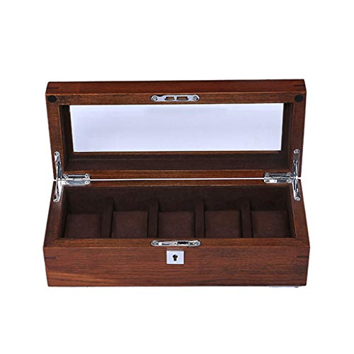 HZY-Watch Box Abnehmbare Uhrenkiste aus Holz, Matte, 5 Fächer, Vitrinenschrank für Reiseuhren aus transparentem Glas