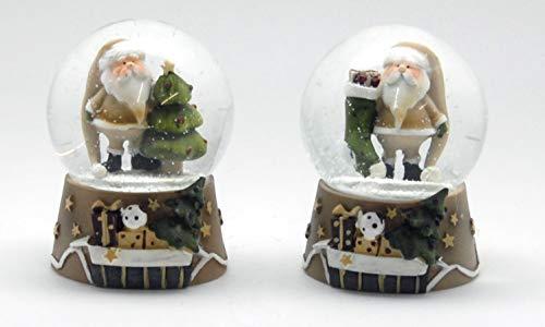 Minium Collection 23012082ab 2er-Set Schneekugel Santa Christbaum und Geschenkstrumpf auf beigem Sockel 65mm Durchmesser