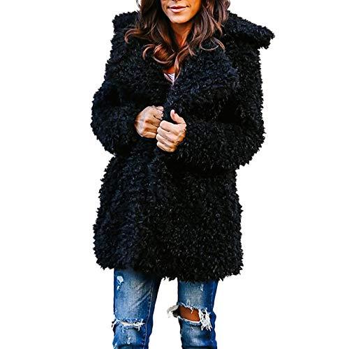 Lazzboy Women Jacket Coat Long Sleeve Faux Fur Fluffy Fleece Notch Collar Warm-up Outerwear Cardigan(S,Black)