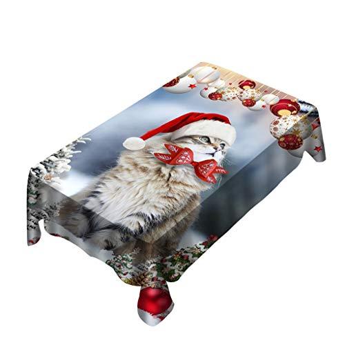 Minshao(TM) Tovaglia Natalizia/coprisedia Stampa Digitale Decorazione tavola di Natale Tovaglia in Tela Cerata plastificata Idrorepellente Rettangolare