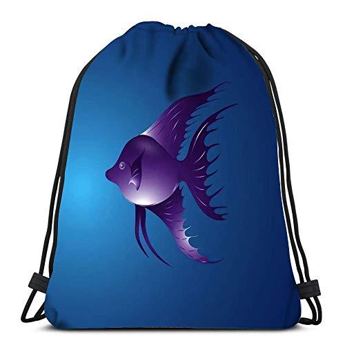 JDHFJ Bolsa con cordón Drawstring Backpack Bags Sports Cinch Fish for School Gym