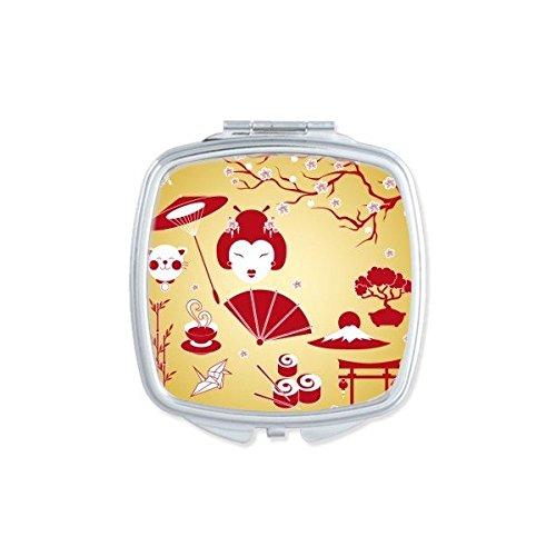 Japan Cultuur Rood Geel Wit Beker Sushi eetstokjes Geisha Lucky Kat Boogboog Karper Paraplu Bamboe Sakura Illustratie Patroon Vierkant Compacte Make-up Pocket Spiegel Draagbare Leuke Kleine Hand Spiegels