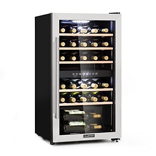 Klarstein Vinamour - Nevera para vinos, Temperatura 5-22 °C, Pantalla LCD, Panel control táctil, Vinoteca Acero inoxidable, 2 zonas de refrigeración, 80 Litros, Para 29 botellas, Antracita