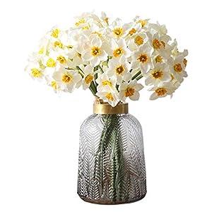 junfeng Artificial Flowers 6pcs/Artificial Flower Daffodil Silk Flowers Bouquet(Random Delivery)