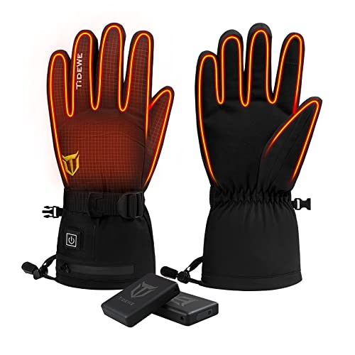 TIDEWE Heated Gloves with 2 Battery Packs, Waterproof Rechargeable...