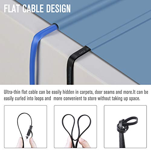 Cat 6 Ethernet Cable 100 ft (at a Cat5e Price but Higher Bandwidth) Flat Internet Network Cable - Cat6 Ethernet Patch Cable Short - Black Computer LAN Cable + Free Cable Clips and Straps