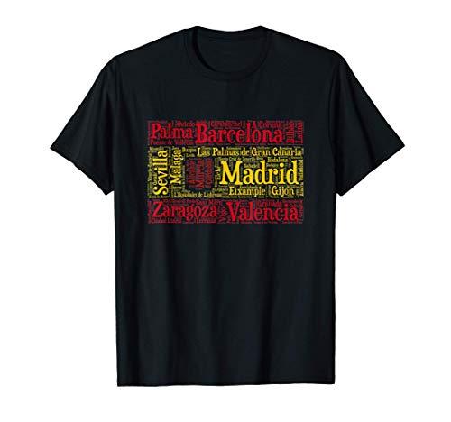 Bandera de España con nombres de ciudades Españolas Camiseta