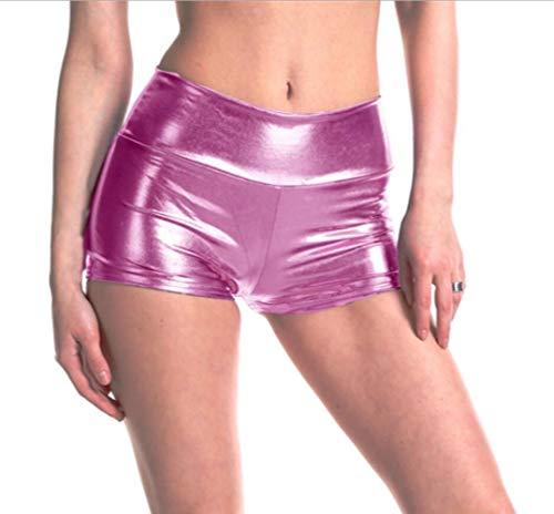 Damen Sommer Hohe Taille Metallic Hotpants, Slim Yoga Sport Hosen Shorts Shiny Wassersport Schwimmshorts PU Leder Leggings Fitness Kurze Hosen