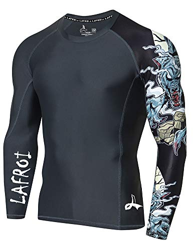 LAFROI Men's Long Sleeve UPF 50+ Baselayer Skins Performance Fit Compression Rash Guard-CLYYB Asym Werewolf Size LG