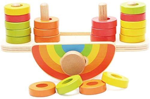 Solde Empiler des Blocs Enfants Jouets en Bois for bébé Jeux d'équilibre d'apprentissage éducatif Toys- coloré