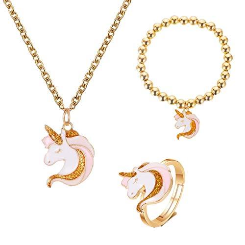 arete 3 Unids / Set Collar Anillo De Dibujos Animados Unicornio Collar Pendiente Joyería Rosa Niñas Regalo Joyería Pulsera Y Collar Conjunto