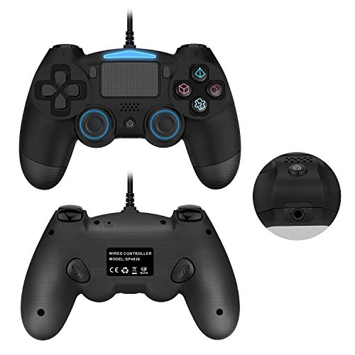 ps4 Wired Controller, Dual Vibration USB Wired PS4 Remote Controller Joystick with Additional L3 R3 Buttons and 3.5MM Headphone Jack for Play Station 4 PS4/PS3/PC Platform