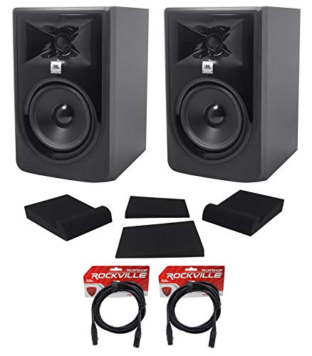 "(2) JBL 305P MkII 5"" Powered Studio Recording Monitors Speakers+Pads+XLR Cables"