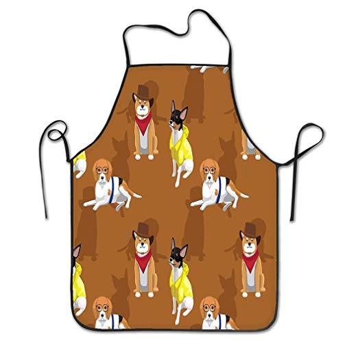 qidushop Nieuwigheid Keukenschort Voor Vrouwen Dierlijk Behang Eps Bestand Formaat Hond Cowboy Kleding Naadloos Patroon Bbq Koken Schort Voor Mannen