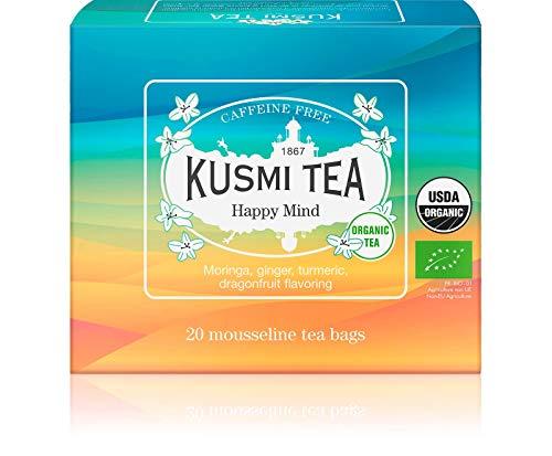 Kusmi Tea - Infusion Bio Happy Mind - Mélange de Plantes, Epices et Pomme Saveur Fruit du Dragon et Citron - Infusion Bio sans Théine - Boîte de 20 sachets mousseline