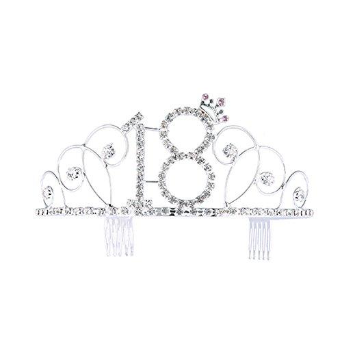 Frcolor - Diadema con strass e con pettine, da principessa, per festeggiamenti dei 18 anni, colore: argento
