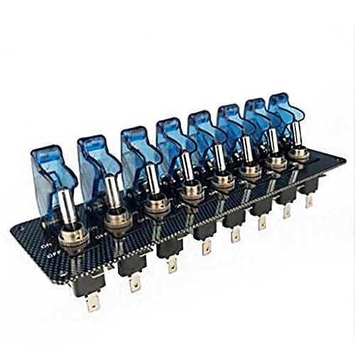 Interruptor de encendido Panel De Interruptor De Coche 8 Juegos De Fibra De Carbono Basculante Con Interruptor Combinado De Cubierta 12V20A Con Encendedor De Alambre ( Color : Blue , Size : 22*6cm )