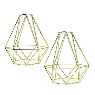 2 Pcs Metal Bulb Guard Cage Lamp Shade - Industrial Ecopower Lighting Antique Holders Iron Wire Golden Diamonds Shape Open Style for Ceiling Fan Light Bulb Covers Pendant Lighting Fixture Wall Lamp