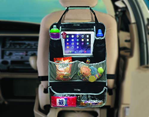 J is for Jeep Deluxe Backseat Organizer & Protector with Touch Screen Enabled Tablet Holder and Removable Travel Pouch