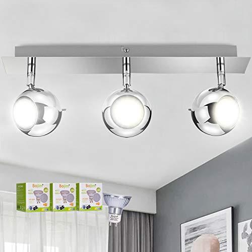 Bojim Lámpara de techo con 3 Focos Cromado, Orientable y giratoria, incluye 3 Bombillas LED GU10 Blanco Natural 6W 600LM 82Ra, Foco LED para techo CA 220-240V Luz de techo para cocina dormitorio Clase de eficiencia energética
