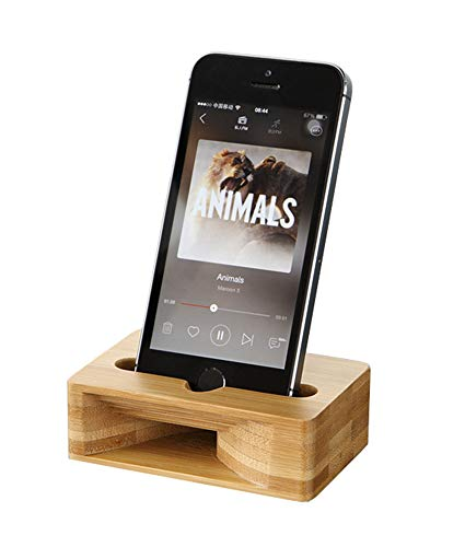 UnnFiko Wooden Sound Amplifier Stand Holder for iPhone, Natural Loudspeaker Mini Megaphone Cell Phone Stand (Square)