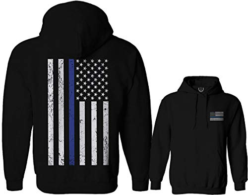 American Flag Thin Blue Line USA Police Support Lives Matter Hoodie (Black, Small)