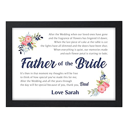PERSONALISED Father of the Bride Poem Gifts - Wedding Day Gifts for Dad,...
