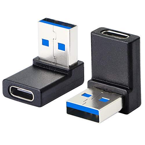 Adaptador de ángulo recto USB A macho a USB C hembra, 90 grados USB3.0 a tipo C Cable conector Soporte unidireccional lados 5 Gbps y transferencia de datos, para portátiles, teléfono, PC-2 piezas